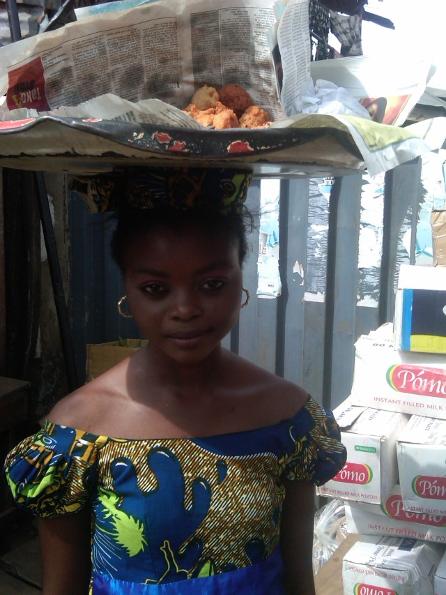 Akara seller on the streets of Ibadan